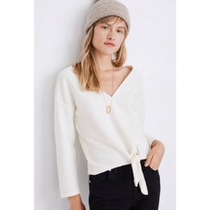 MADEWELL Texture &Thread Front Tie Long Sleeve Top